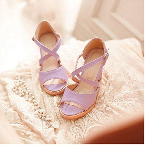 COOLCEPT Damen Mode Kreuz Sandalen Open Toe Blockabsatz Schuhe Violett