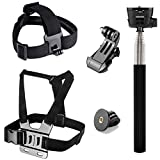 Rhodesy Accessories Set for Gopro Hero 7 Hero 2018 Hero 6 Hero 5 Black Hero5 Session Hero 4 Silver Black Hero 3+ 3 2 1: Head Strap Mount +Chest Strap +Extendable Handheld Monopod