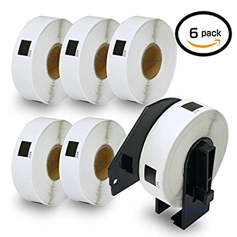 6 Rolls Brother-Compatible DK-11204 P-Touch 17mm x 54mm Address 400 Labels per Roll With Refillable Cartridge