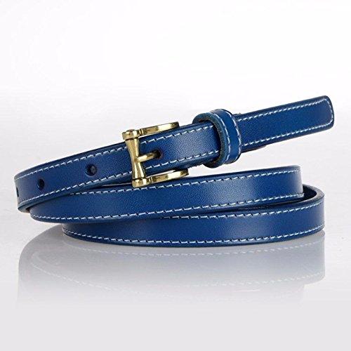 QIER-YD Damen Leder Dornschließe dünne Gürtel Kleid Kleid Retro Mode Gürtel kann geknotet Werden Blau -