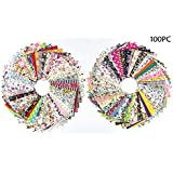 100X RayLineDo® Bundle of 10cm X 10cm Different Pattern Stripe Dot Flowers Cotton Patchwork Fabric Bundle Squares Quilting Scrapbooking Sewing Artcraft Bag Handbag Making Project Fabric-Thin Fabric