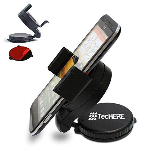 TecHERE SmartClaw Porta smartphone / cellulare universale con ventosa e supporto adesivo per cruscotto - Supporto auto per iPhone 5 5s 5c 4s, Samsung Galaxy S2 S3 S4 S5, Nexus 5, HTC, navigatore GPS ed altri dispositivi di larghezza da 5 a 8 cm - Snodo con regolazione a 360° - Garanzia 100% soddisfatti o
