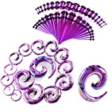 ChenYongPing Ear Cardberage Barbell Kit de jauge Acrylique 52 pièces Pinceaux spiralés Tunnels et Bouchons 14G-00G Démarreur étirement d'oreille Boucles d'oreille Cartilage Helix (Color : Purple)