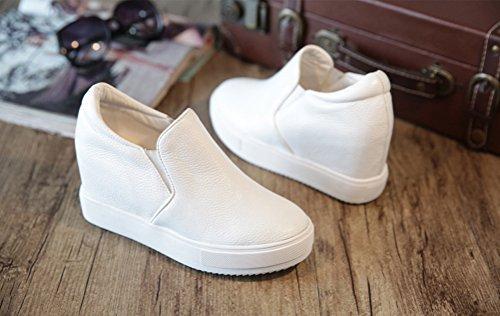 Damen wedges Absatz Freizeit Weiß Keil Turnschuh Mit Stiefeletten Sportliche Sneaker Sneakers Plateau 4Hrwq54x