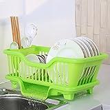 Scatola di immagazzinaggio del vassoio, mettere i piatti dei piatti di gocciolatoio, la struttura dell'angolo dell'armadio, la ciotola di scolo della cucina ( Colore : Verde , dimensioni : 43.5*30.5*18.5cm )