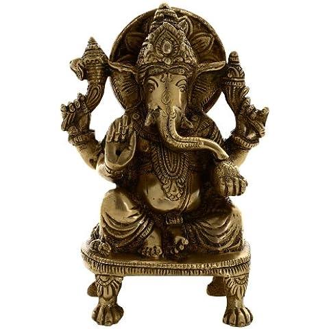 Articoli da regalo indiani Statua indù Dio Ganesha ottone Seduti metallo Art Decor 5.75 pollici