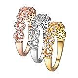 Set di anelli impilabili in cristallo, oro giallo / oro rosa / placcato in platino, zirconi cubici, anelli di fidanzamento da sposa, set da sposa