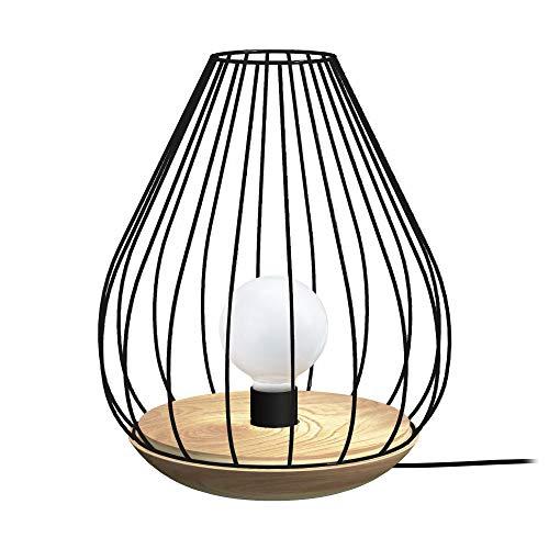 Tosel 65223 Lampe à Poser 1 Lumière, Bois, E27, 40 W, Noir, 25 x 35 cm