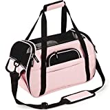 Kaka mall Pet Carrier Waterproof Fabric Padded Soft Sided Airline Approved Portable Collapsible Mesh Breathable for Small Puppy Dogs Cats Travel Bag Can be Connected with Car Seat Belt (Pink, Small)