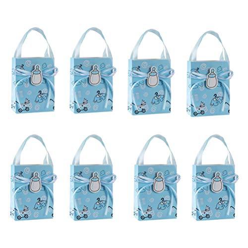 Toyvian 12 stücke Baby Shower Geschenke Box Candy Bag Party Gefälligkeiten Taschen mit Griffen für Geburtstag Taufe (Sky Blue) (Für Gefälligkeiten Hochzeit-boxen)