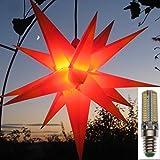 Mit LED Außenstern BIG 65 cm rot mit gelben Spitzen beleuchteter Stern Weihnachtsstern Faltstern, Leuchtmittel LED (StaRt-NDL-DUH-E14-C3,5W)