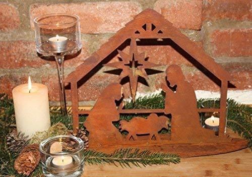 Rostikal | Edelrost Krippe Bethlehem, Weihnachtskrippe auf Bodenplatte | 28 cm | Größe 1