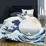 not Piumone-la Biancheria da Letto,Hokusai Pattern Japanese Ukiyoe Themed Asian Oriental Sketch Style Ocean,Microfibre, Piumino 1 Trapunta 200×200CM e 2 federe 50×80CM