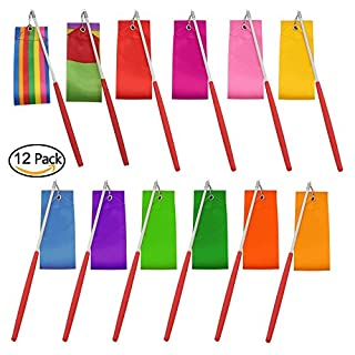 Amison Dance Ribbons Streamers Rhythmic Gymnastics Ribbon Wands Rods for Children Art Dances, Baton Twirling, 12 Pack