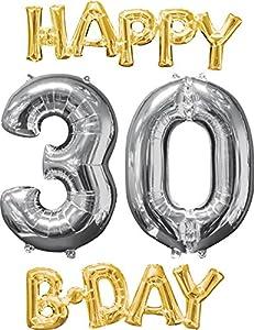 Amscan International 3606401 Happy Birthday - Globo de Papel de Aluminio, Color Dorado y Plateado
