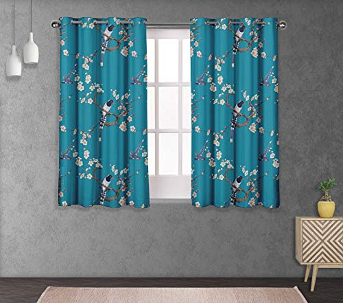 S4sassy Cotton Duck Blossom & Pin Tailed Whydah Blue Bird Short Window Treatment Double Panel Eyelet Curtain Drapes- 54X56 Inches (Pin Blue Bird)