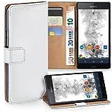 moex Sony Xperia Z3 Compact | Hülle Weiß mit Karten-Fach 360° Book Klapp-Hülle Handytasche Kunst-Leder Handyhülle für Sony Xperia Z3 Compact / Z3 Mini Case Flip Cover Schutzhülle Tasche