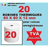 paquete de 20 - Rollo de papel térmico, 80 x 80 x 12 mm, rollos térmicos 80x80x12 para recepción - rollos de papel térmico para impresora de recibos o caja registradora - papel blanco de alta calidad - gráfico universo marca ref UGR03