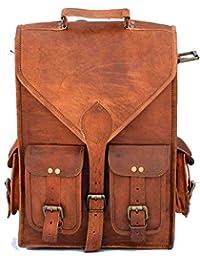 Genuine Leather Vertical Back Pack Messenger Bag Brown BY Bag House - B07BZT8M76