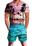 Idgreatim Herren Jumpsuit Herren Overall Männer Strampler Sommer Hawaii Overall 3D Grafik Reißverschluss Shorts Strampler Einteilige Insgesamt S