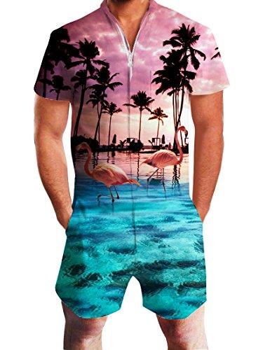 Idgreatim Herren Overall Männer 3D Grafik Strampler Herren Jumpsuit Casual Shorts Reißverschluss Overall Einteilige Overall Outfits XXL
