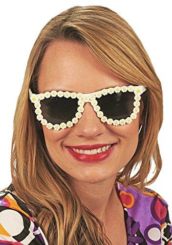 Andrea-Moden Hippie Brille mit Daisy Blumen zum 70er Jahre Flower Power Kostüm