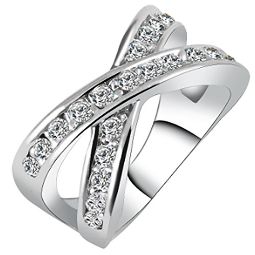 SaySure - Alloy Gold Color Silver Color Round Cross Rings (SIZE : 6)
