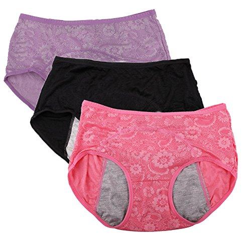 YOYI FASHION Damen Menstruationslip, Jacquard, leicht zu reinigen, Multipack Gr. 46, Red,Black,Lotus -