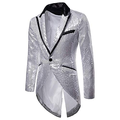 KPILP Sakkos Men\'s Anzugjacken Tuxedo Fashion for Party Handsome Oberteile Charm Casual One Button Fit Suit Blazer Coat Jacket Autumn Winter(Silber,EU-60/CN-XL