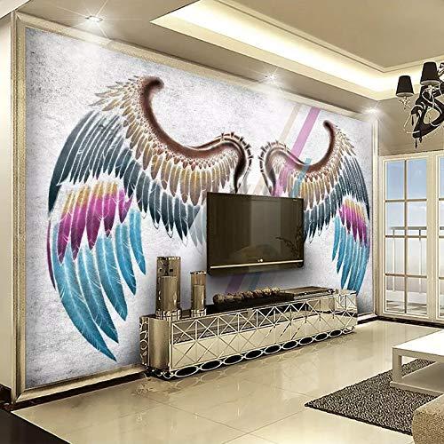 MuralXW 3D Fototapete Europäischen Stil Kreative Handgemalte Engelsflügel Hintergrund Kunst Wandmalerei Wohnzimmer Dekor-450x300cm
