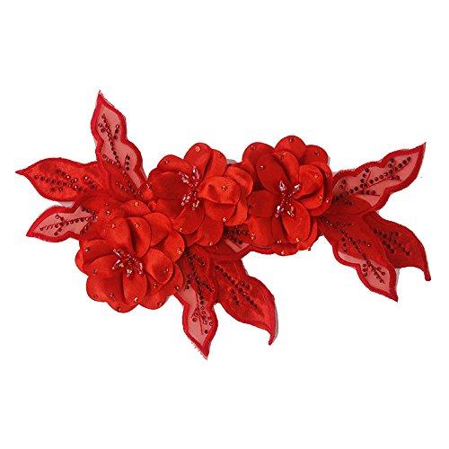 Accesorio flores rojas tela encajes lentejuelas brillantes