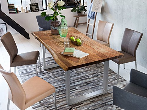 Sam Stilvoller Esszimmertisch Quarto 180 x 90 cm, nussbaumfarbig, Akazienholz-Tisch mit Silber lackierten Beinen, Baum-Tisch mit naturbelassener Optik