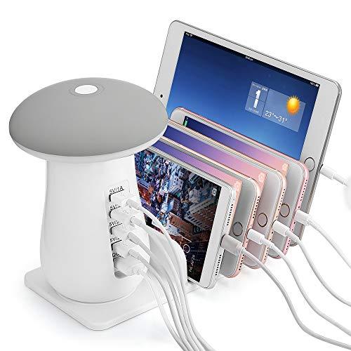 Asonter Schnelles USB-Tischladegerät Tischladegerät für USB-Ladegerät mit 5 Anschlüssen Nachtlichtleselicht
