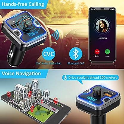 FM-Transmitter-Auto-Bluetooth-Cocoda-Fm-Transmitter-mit-7-Farben-LED-Bluetooth-Transmitter-Freisprecheinrichtung-Ladegert-Auto-GPS-QC30-Bluetooth-50-Untersttzt-USB-Stick-Micro-SD-Karte