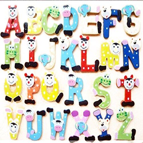 QHGstore 26pcs alfabeti di legno del frigorifero magneti da frigorifero Decorazione per bambini Bambini Imparare Giocattoli