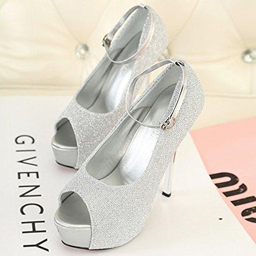 Oasap Women's Peep Toe Platform High Heels Glitter Sandals green