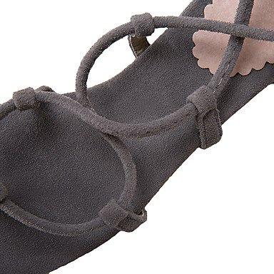 LvYuan Sandali-Formale Casual-Cinturino alla caviglia-Quadrato-Felpato-Nero Giallo Grigio gray
