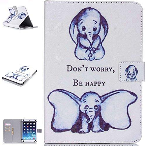 SZHTSWU Universal 10 Zoll Kunstleder Tablette Hülle, Magnetverschluss Farbmalerei Serie Weiß Blau Elefant Muster PU Leder Tasche Schutzhülle Flip Case Ledertasche mit Kartenfächern und Standfunktion für Alle 10