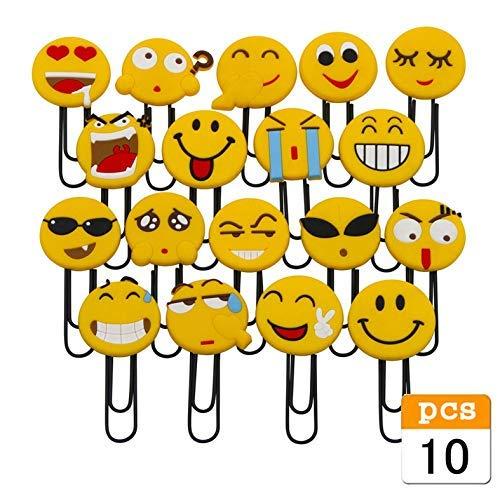 Marcadores de libros lindos de Emoji, Bookmark de divertidos, marcador de emoticonos de novedad para niños, niñas, estudiante de la escuela (10PCS al azar)