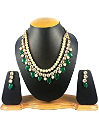Quail Ethnic Jewellery Gold Plated Kundan Pearl Necklace Set For Women Traditional Wedding