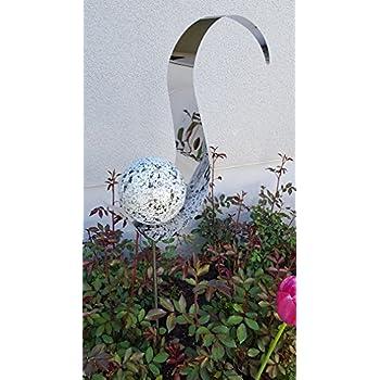 Skulptur Jupiter Kugel matt gebürstet Edelstahl 100 cm Beetstecker Gartenstecker