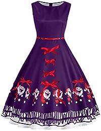599227e6794 HOOUDO Women Vintage Dress Fashion Plus Size Santa Claus Bow Print Evening  Party Bow Bandage Christmas