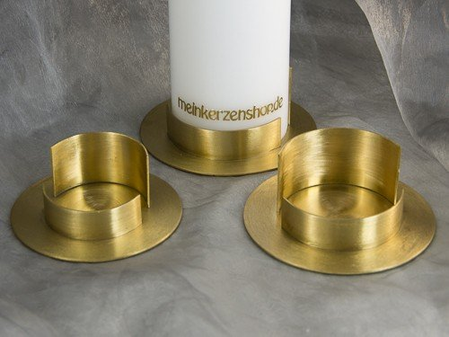Kerzenteller Kerzenständer Kerzenhalter für Hochzeitskerze Taufkerze gold 16624, Größe:7 cm innne