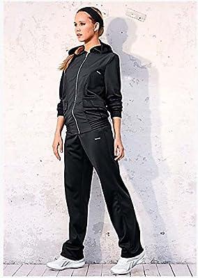 Reebok Damen Trainingsanzug TRACKSUIT Hose Oberteil Frauen FITNESS TRAINING Sport Schwarz mit Kapuze