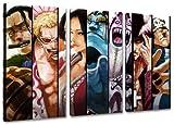 Sieben Samurai, One Piece Motiv, 3-teilig auf Leinwand (Gesamtformat: 120x80 cm), Hochwertiger Kunstdruck als Wandbild. Billiger als ein Ölbild! ACHTUNG KEIN Poster oder Plakat!