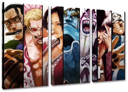 Sieben Samurai, One Piece Motiv, 3-teilig auf Leinwand (Gesamtformat: 120x80 cm), Hochwertiger Kunstdruck als Wandbild. Billiger als ein Ölbild! ACHTUNG KEIN Poster oder Plakat! - Japan Anime-kunst-plakat