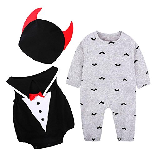 HKFV Halloween Kostüme Baby Kürbis Stück Anzug + Hut 3 Sets Striped Kürbis Spielanzug Halloween Outfits Kostüm Lange Ärmel (90, (Halloween Kostüme Süßeste Die)