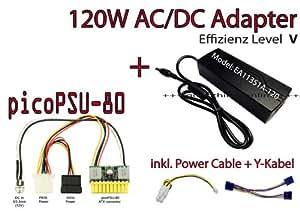 PicoPSU - 80/120 w pour les eDAC-p4 4 broches mini câble d'alimentation y avec molex à 2 x sATA mini-iTX, hTPC, silent