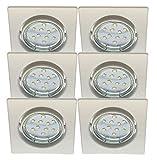 Trango 6er Set eckige weiße Einbaustrahler Einbauleuchten Strahler TG6729-066SB inkl. 6x GU10 3,0W Power SMD LED Leuchtmittel & GU10 Fassung direkt 230V