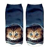 LEEDY Damen Unisex Kurz Socken, 3D Cat Print Low Cut Keine Show Kein Slip Baumwollsocken Lustige Niedliche Cartoon Tier Design Mädchensocken